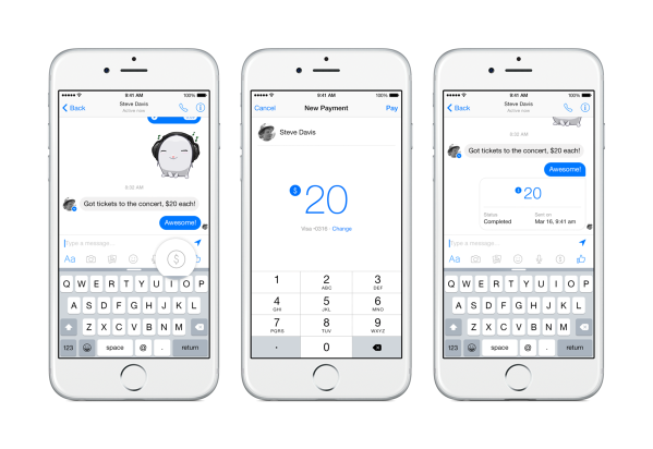 Payments in Facebook Messenger within a conversation
