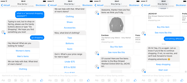 Spring's personal shopping assistant on Messenger