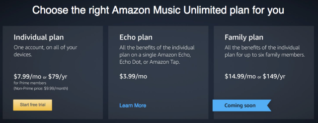 Amazon Music Unlimited tiers