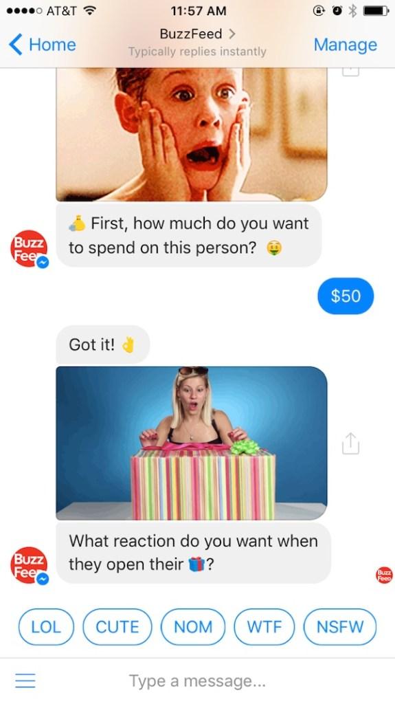 Buzzfeed Facebook Messenger Bot