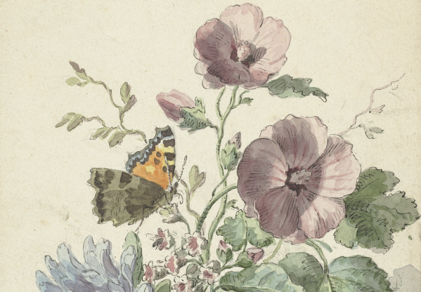Bouquet of Flowers with a Butterfly, Willem van Leen, 1763 - 1825 (extract)